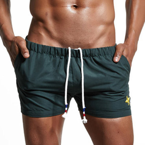 SUPERBODY Mens Summer Cotton Drawstring Embroidery Beach Shorts Casual Jogging Shorts
