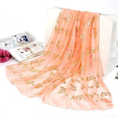 Women Golden Butterfly Print Scarf Soft Long Scarf Warm Wrap Shawl