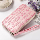 Universal 5.5 inch Letter Printing Wallet Phone Bag For iPhone Samsung Sony Xiaomi Huawei