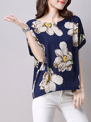 Casual Women Short Sleeve Floral Printed O-Neck Cotton T-shirts