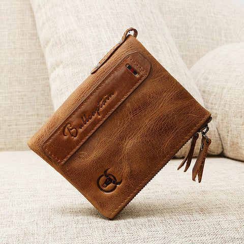 Bullcaptain 5 Card Slots Genuine Leather Wallet Vintage Card Holder Coin Bag For Men