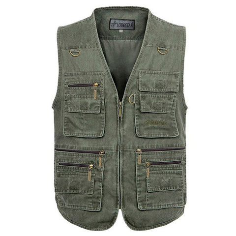 Plus Size Outdoor Fishing Multi Pockets Multi Functions Vest Waistcoats for Men