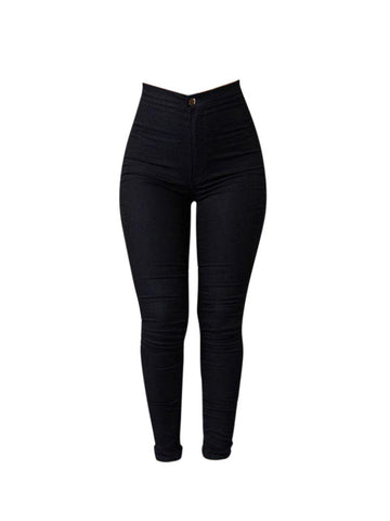 Women High Waist Elastic Skinny Pure Color Pants