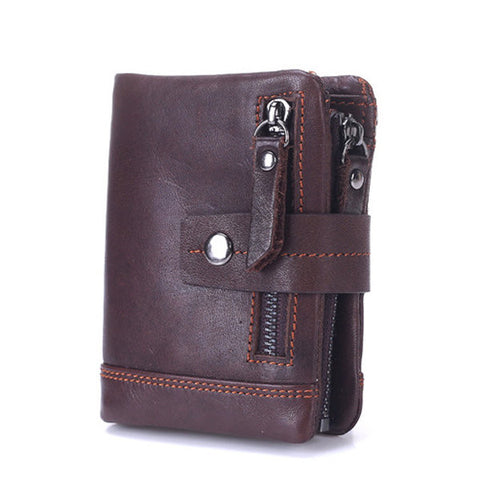 13 Card Slots Wallet Genuine Leather Card Holder Vintage Coin Bag For Men