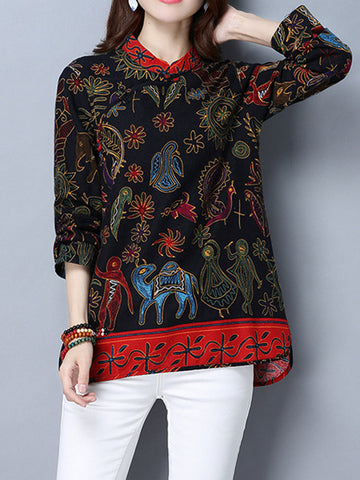 Women Vintage Chinese Style Plate Buttons Floral Printed Shirts