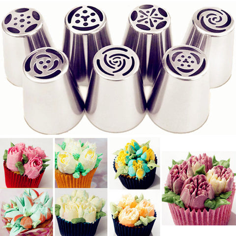 7Pcs DIY Flower Pastry Cake Icing Piping Nozzles Decorating Tips Baking Tools