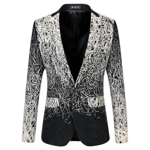 Plus Size Fashion Business Casual Embroidered Gradient Color Suits Blazers for Men