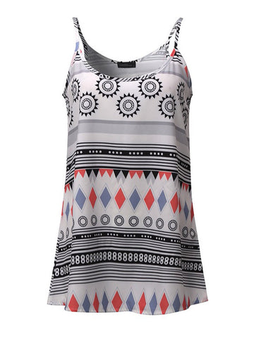 Casual Geometric Patterns Printed Strap Tank Tops For Women