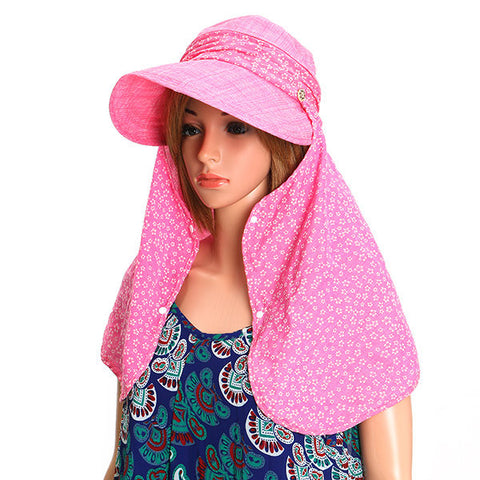Women Flower Printed Face Neck Sunscreen Wide Brim Beach Hat Outdoor Gardening Anti-UV Visor Caps