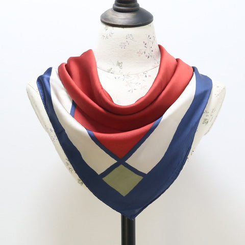 Fashion Women Vintage Geometric Silk Small Kerchief Simple Lattice Stripe Small Square Thin Scarf