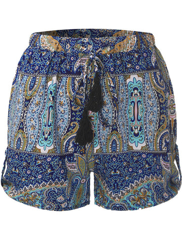 Women High Waisted Summer Floral Beach Bohemian Shorts