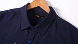 Plus Size Royal Blue Fat Cotton Breathable Band Collar Dress Shirts for Men