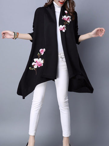 Women Elegant Floral Embroidered Long Sleeve Sweater Cardigans