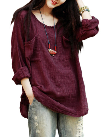 Gracila Vintage Pure Color Long Sleeve Pockets Loose Women Shirts