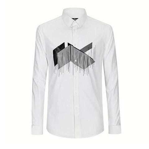 QIPAI Long Sleeves Printing White Casual Busines Pure Cotton Plus Size Dress Shirts for Men