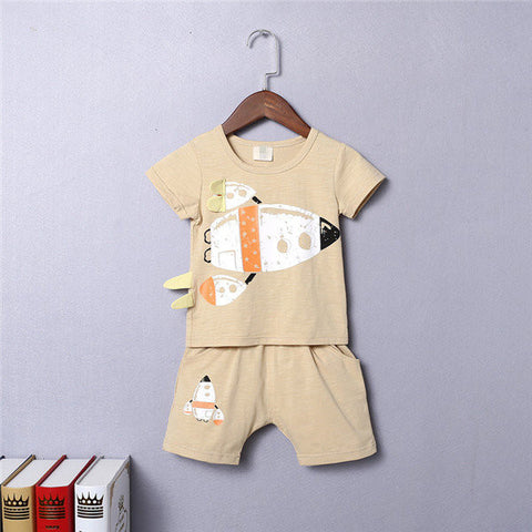 Boys Rocket Printed Patchwork Cute Suits