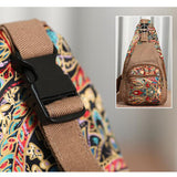 National Style Flower Pattern Canvas Casual Shoulder Bag Chest Bags