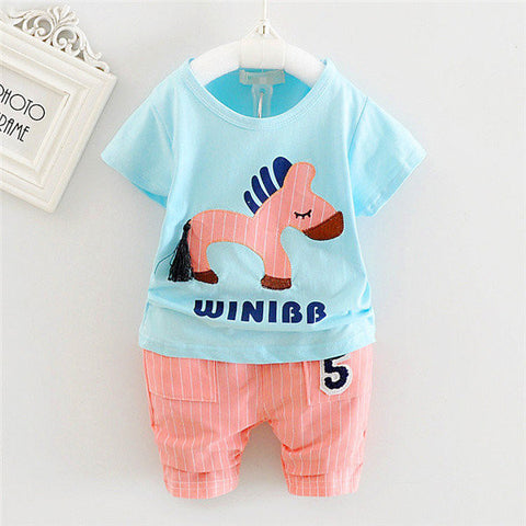 2PCS Boys Horse Printed Casual Suits