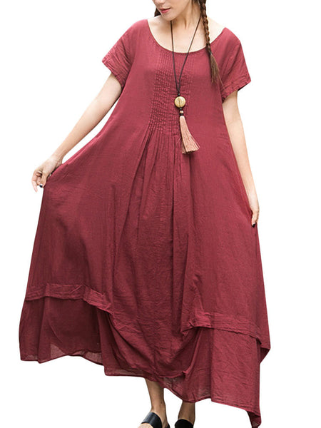 Gracila Women Short Sleeve Irregular Vintage Long Maxi Dresses