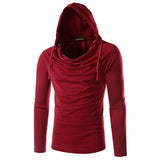 Mens Hoodies Brief Style Solid Color Casual Sport Hooded Tops