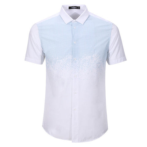 QIPAI Short Sleeves Casual Business Striped Cotton Linen Fix Slim Dress Light Blue Shirts forr Men
