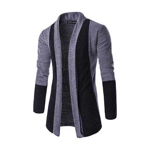 Mens Fall Winter Fashion Cardigans Fleece Knitted Splicing Color Thick Warm Stylish Sweaters