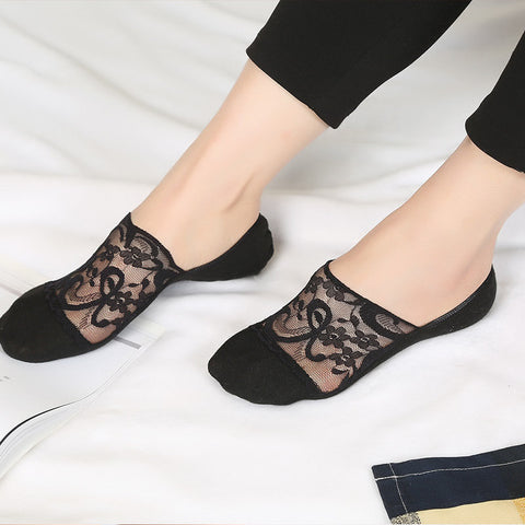 Fashion Women's Lace Antiskid Invisible Boat Sock Summer Thin Breathable Short Ankle Socks