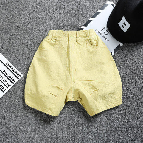 Boys Solid Cotton Pockets Casual Shorts