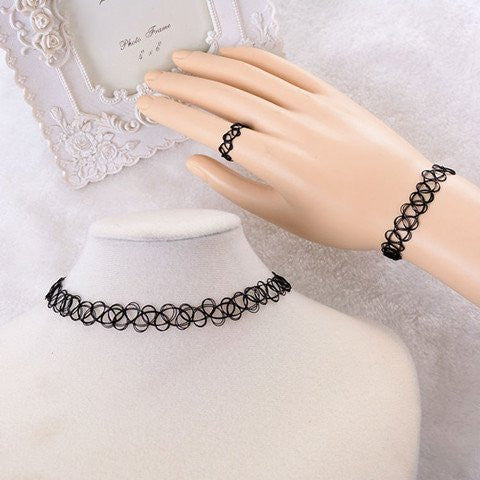 Mesh Jewelry Three Set-Necklace,Bracelet,Ring