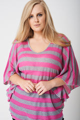 PLUS Knitted Top in Stripe