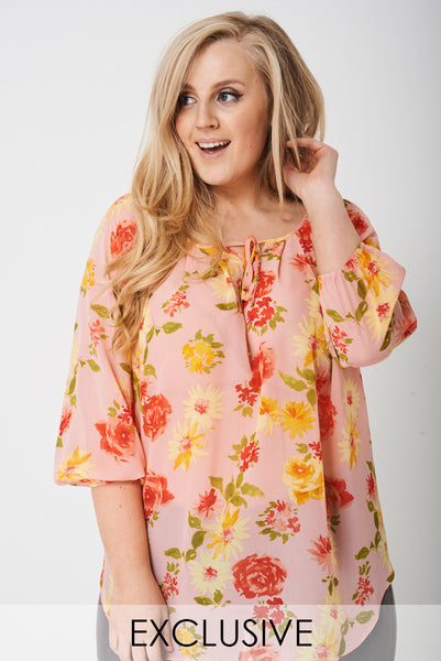 Plus-Size Exclusive Lightweight Balloon Sleeve Top