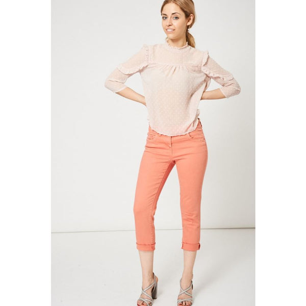 Coral Pink Raw Hem Straight Leg Jeans Ex-Branded Available In Plus Sizes & Trousers Emporium Way Free Shipping $33.99