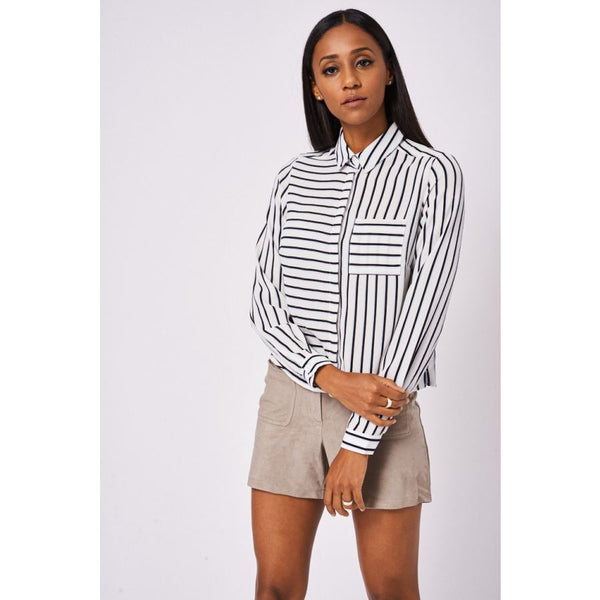 Green And Black Stripe Shirt Ex-Branded Available In Plus Sizes Shirts & Blouses Emporium Way Free Shipping $37.99