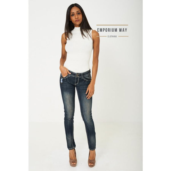 Low Rise Skinny Jean In Dark Blue Jeans & Trousers Emporium Way Free Shipping $34.99