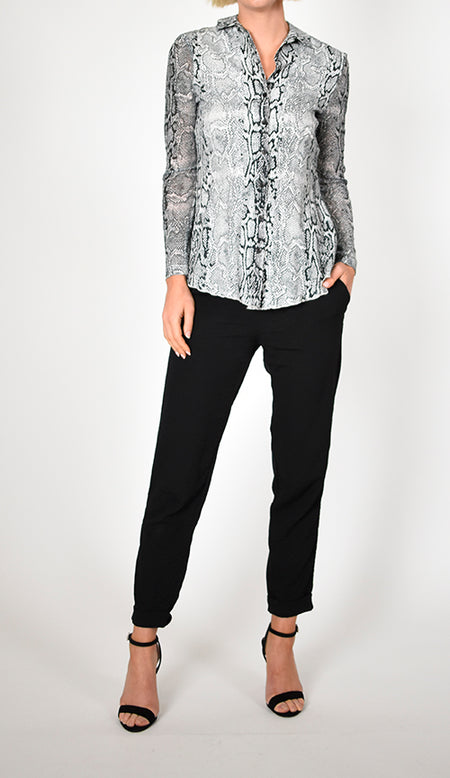 Long Sleeve Lace Yoke Top