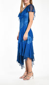 Flutter Sleeves Tiered Chiffon Dress
