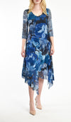 Handkerchief Hem Printed Chiffon 3/4 Sleeve Dress