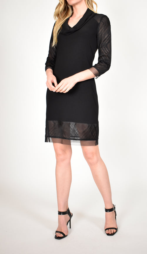 3/4 Sleeve Cowl Neck Shift Dress