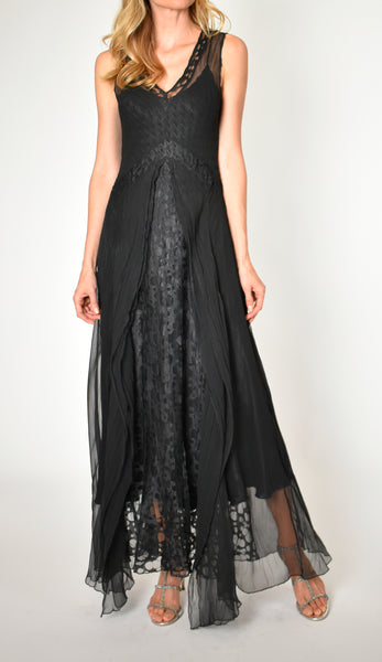 Long Gown with Lace Inserts