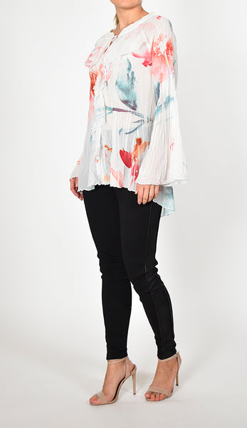 Long Ruffle Sleeve Top