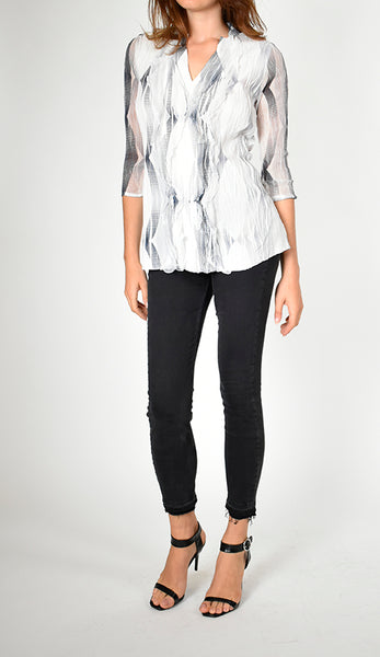 Ruffle Front Detail Chiffon Sleeve Top