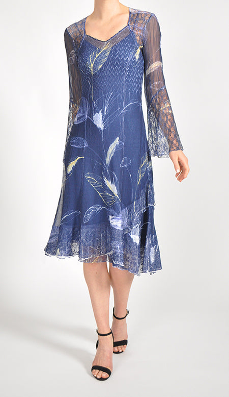 Sleeved Uneven Hem Dress