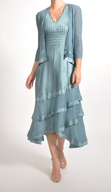 V-neck Layered Chiffon Dress