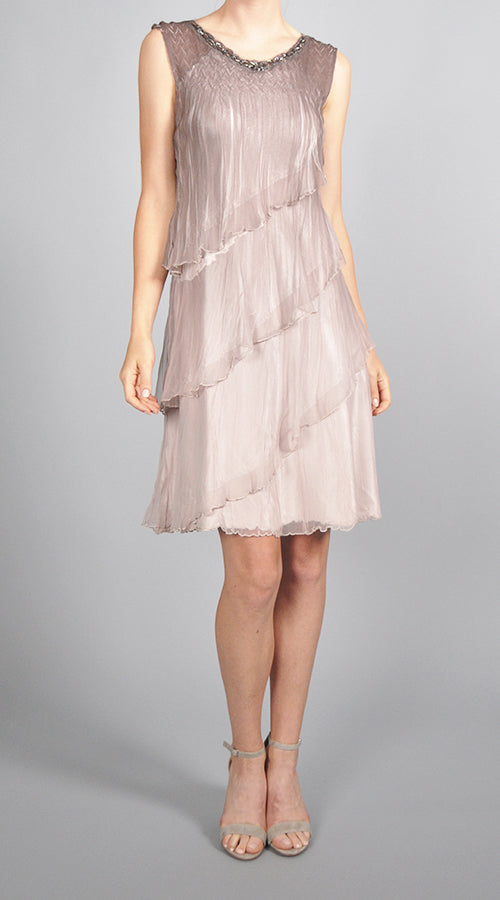 Tiered Chiffon Dress and Shawl