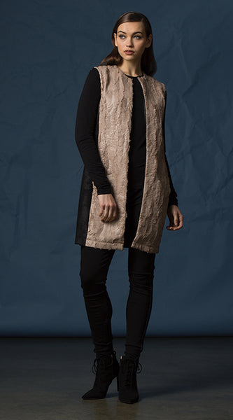 Coated Faux Fur Vest