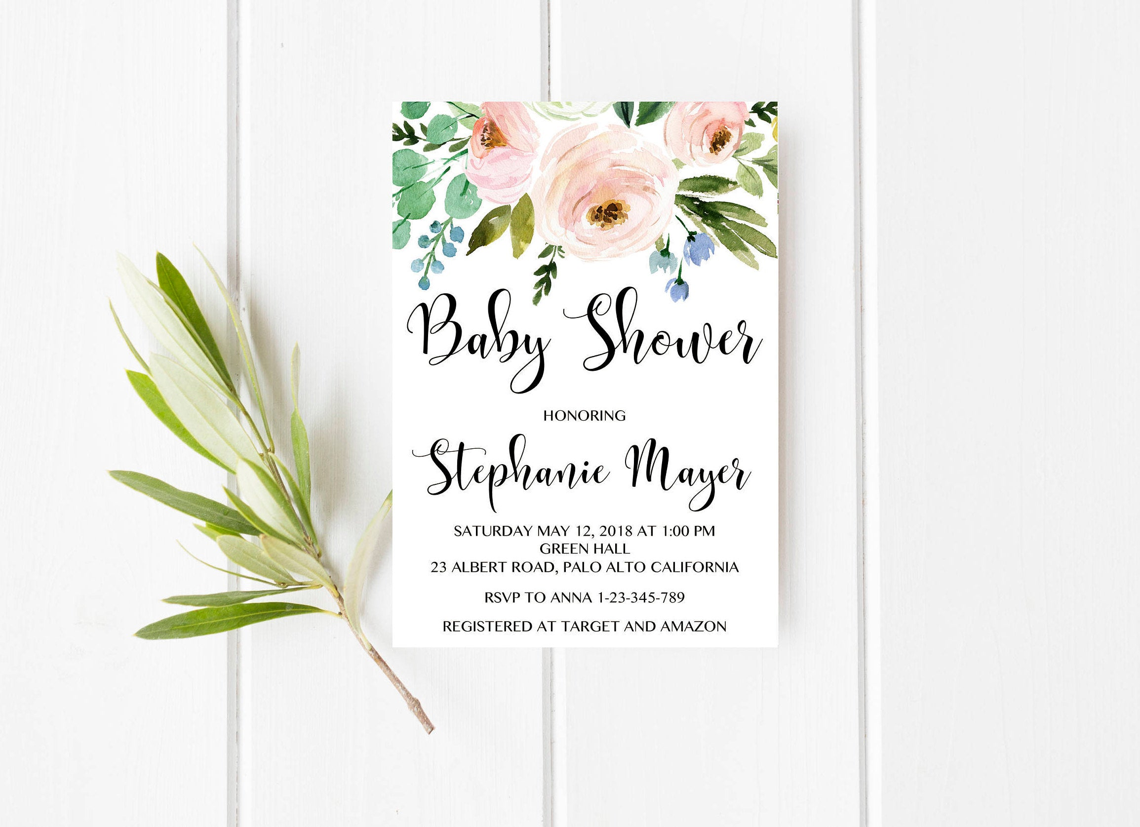 816a94e47b125 Baby Shower girl invitation, Floral Baby Shower Invite, Blush baby shower  invitation, Boho baby shower, Rustic baby shower, Pink baby shower - ...