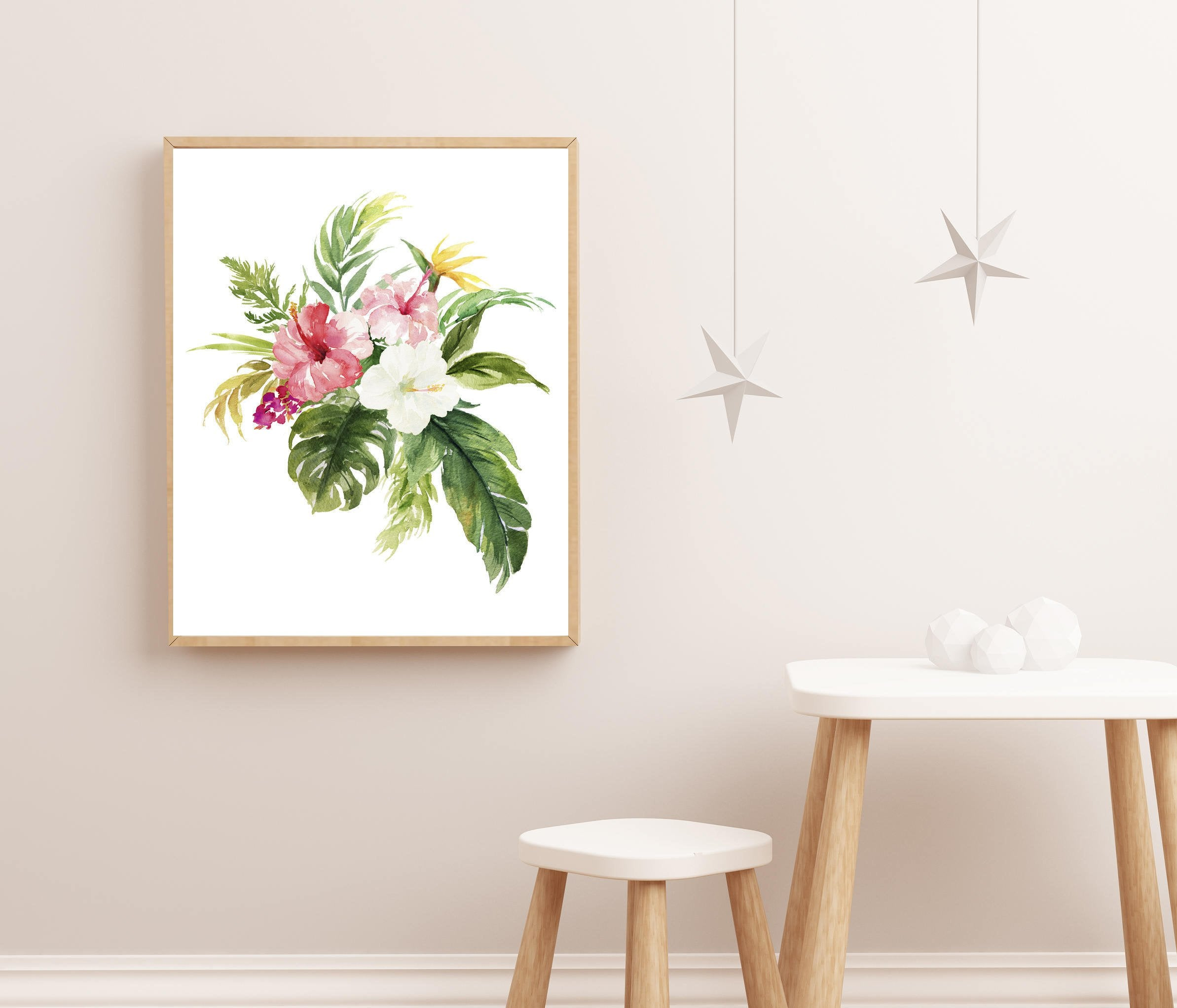 tropical nursery art baby girl nursery art floral nursery art