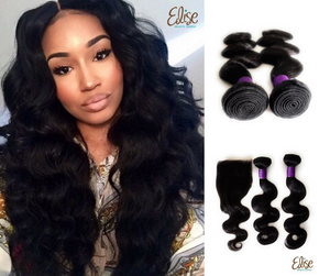 3 body wave hair bundles with a lace closure