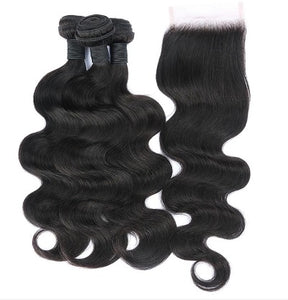Human Hair 3 bundles closure Body wave hair extensions