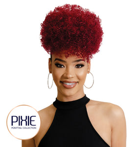 Afro Curly drawstring Ponytail Cherry Pop Red